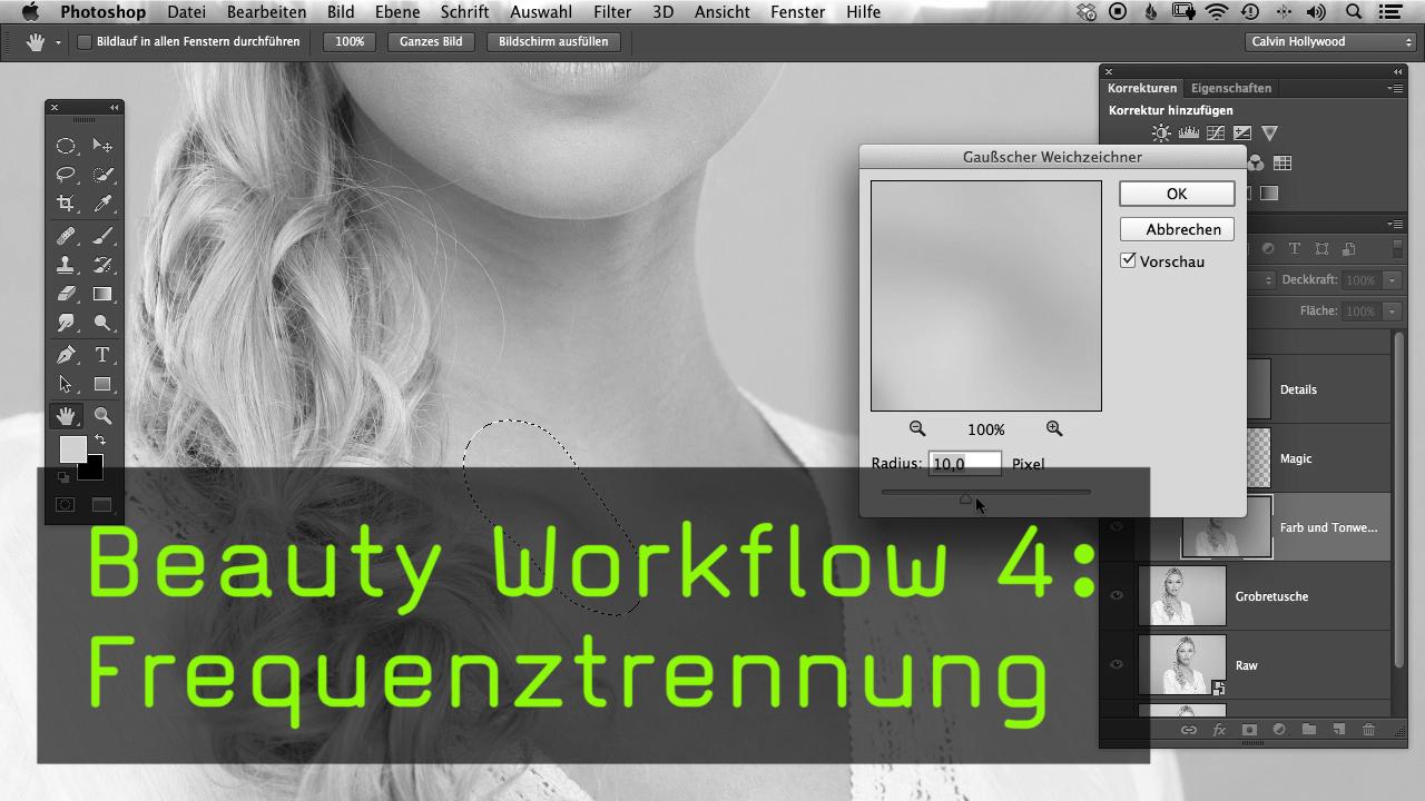 video beauty workflow  frequenztrennung mit photoshop cc