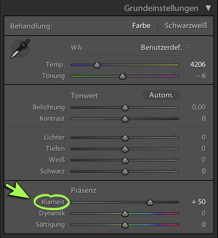 Der Regler Klarheit in Lightroom
