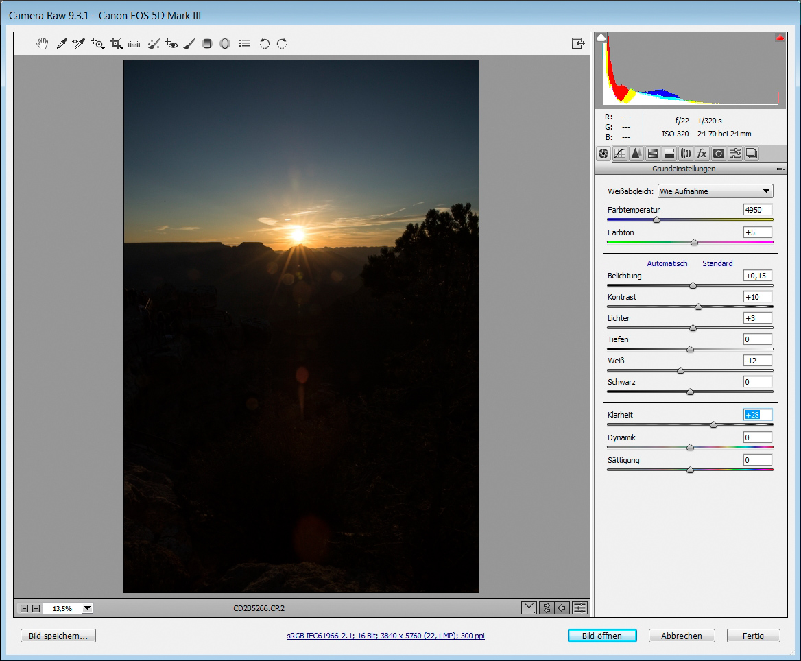 Himmel optimieren in Photoshop Camera RAW
