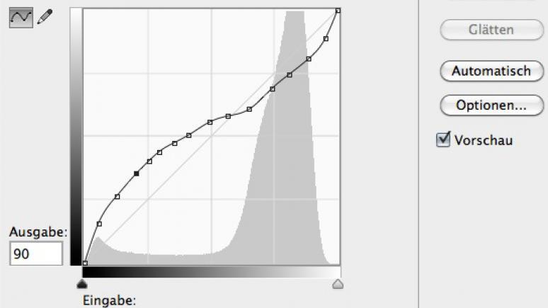 Gradationskurve oder Tonwertkorrektur