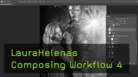Composing Workflow von Laura Helena, Iron Man, Feuertexturen